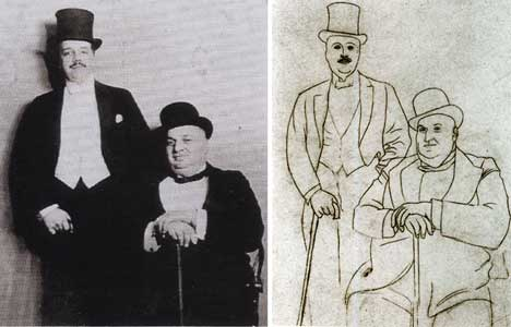 Pablo Picasso - Portrait of Sergei Diaghilev and Alfred Seligsberg