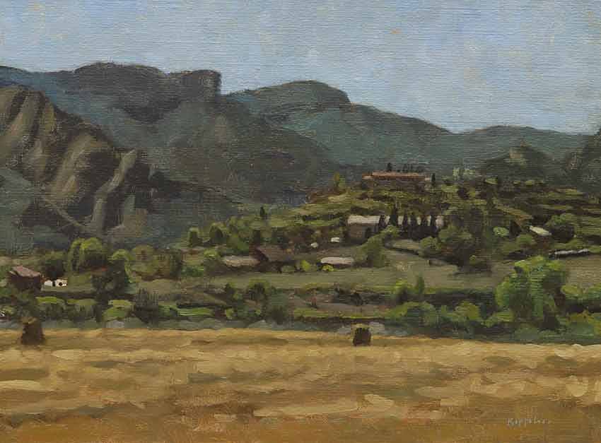 landscape: 'Catalunia' oil on canvas by Dutch painter Frans Koppelaar.