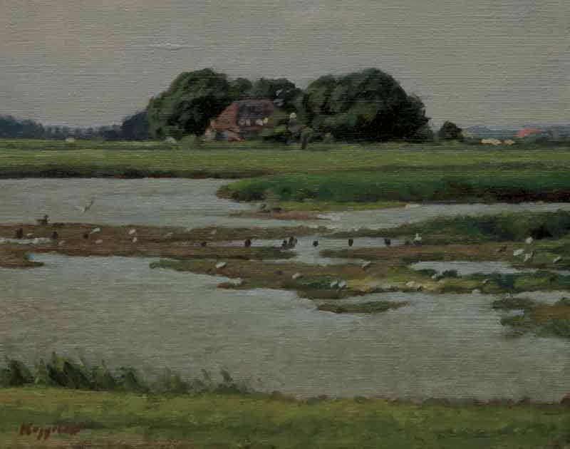 landscape: ''Ottersaat, Texel'' oil on canvas by Dutch painter Frans Koppelaar.