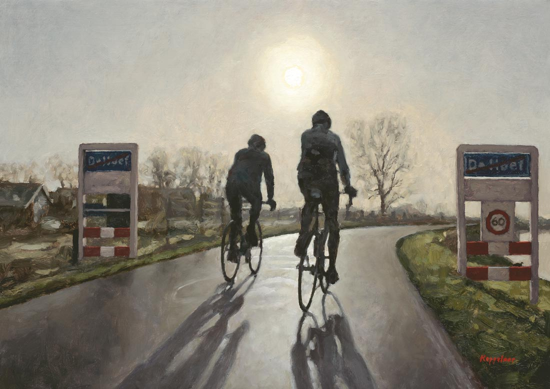 landscape: 'Winter Ride' oil on canvas by Dutch painter Frans Koppelaar.