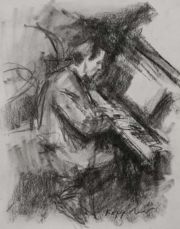 drawing: 'Piano Player' black crayon by Dutch painter Frans Koppelaar.