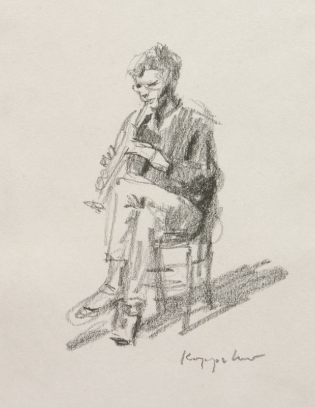 drawing: 'Clarinet Player' graphite by Dutch painter Frans Koppelaar.