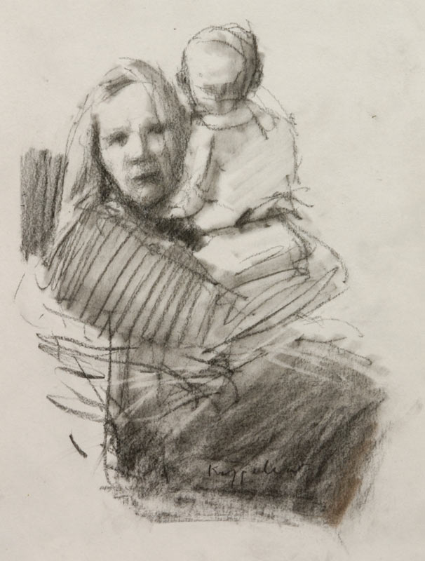 drawing: 'Mother and Child' black crayon by Dutch painter Frans Koppelaar.