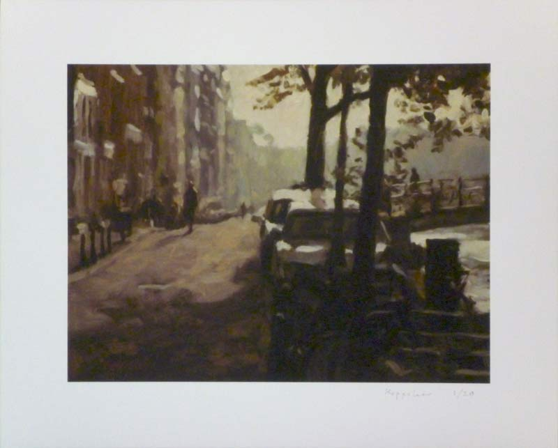drawing: 'Hazy Backlight at 'Singel'' giclée print by Dutch painter Frans Koppelaar.