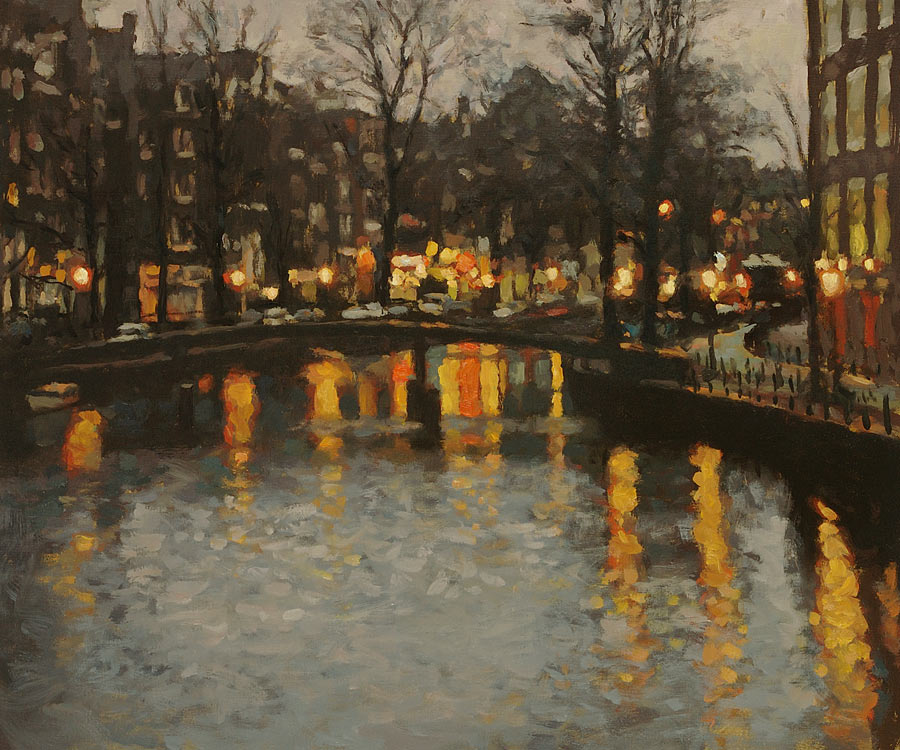 drawing: 'Oudezijdsvoorburgwal at Night' giclée print by Dutch painter Frans Koppelaar.