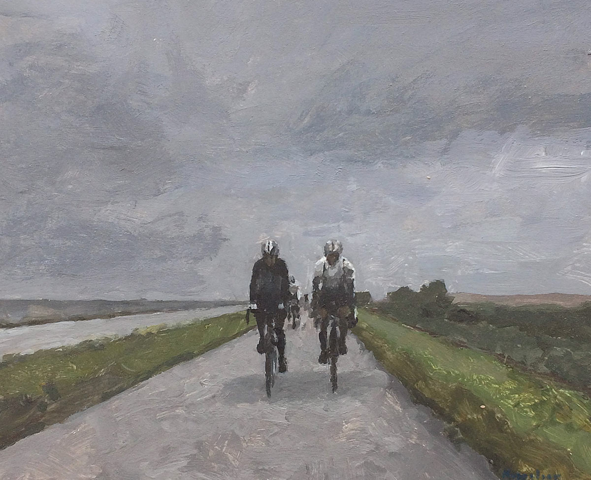 drawing: 'Cyclists on a dike' acrylics on paper by Dutch painter Frans Koppelaar.