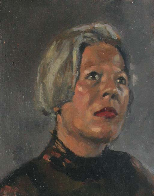 portrait: 'Study of a Woman' oil on panel by Dutch painter Frans Koppelaar.
