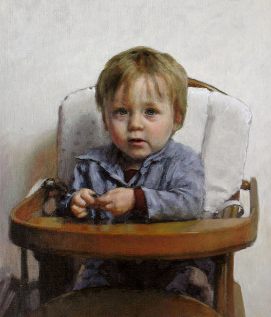 portrait: 'Deaf Toddler with Coin' oil on canvas by Dutch painter Frans Koppelaar.