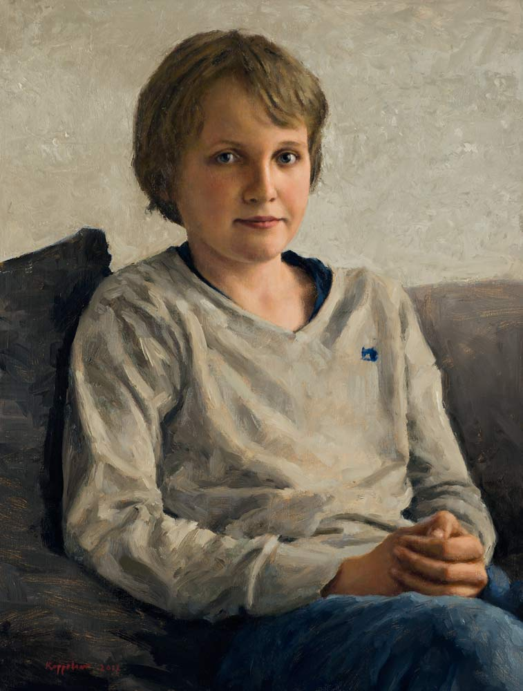 portrait: 'Wouter' oil on canvas by Dutch painter Frans Koppelaar.