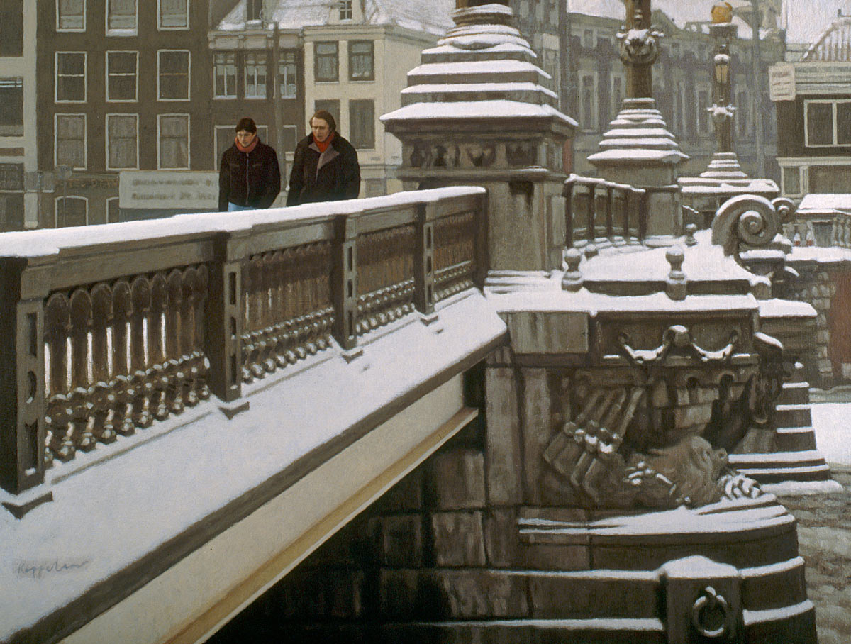 cityscape: 'Snowcovered Blue Bridge' oil on canvas by Dutch painter Frans Koppelaar.