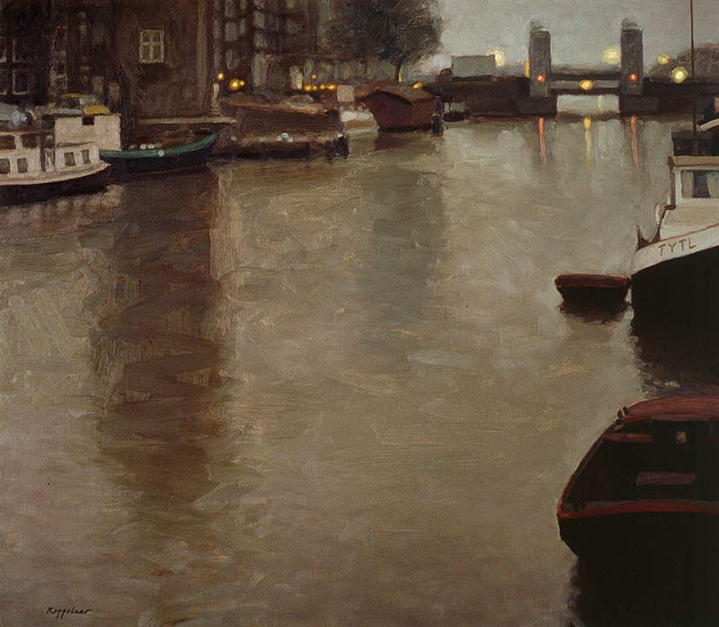 cityscape: 'Oude Schans at Daybreak' oil on canvas by Dutch painter Frans Koppelaar.