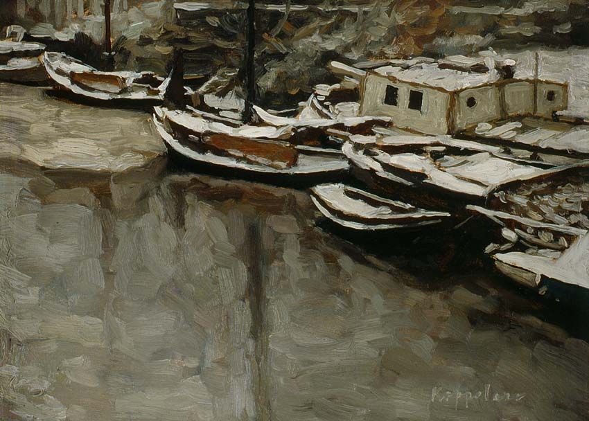 cityscape: 'Snowcovered Vessels' oil on canvas by Dutch painter Frans Koppelaar.