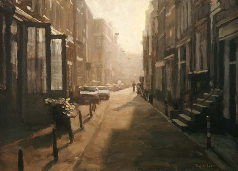 cityscape: 'Backlight at Langestraat' oil on canvas by Dutch painter Frans Koppelaar.