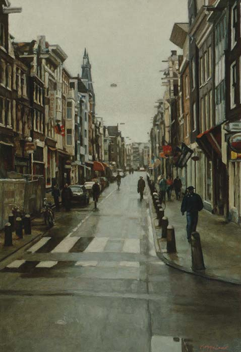 cityscape: 'Rainy day at Haarlemmerdijk' oil on canvas. by Dutch painter Frans Koppelaar.