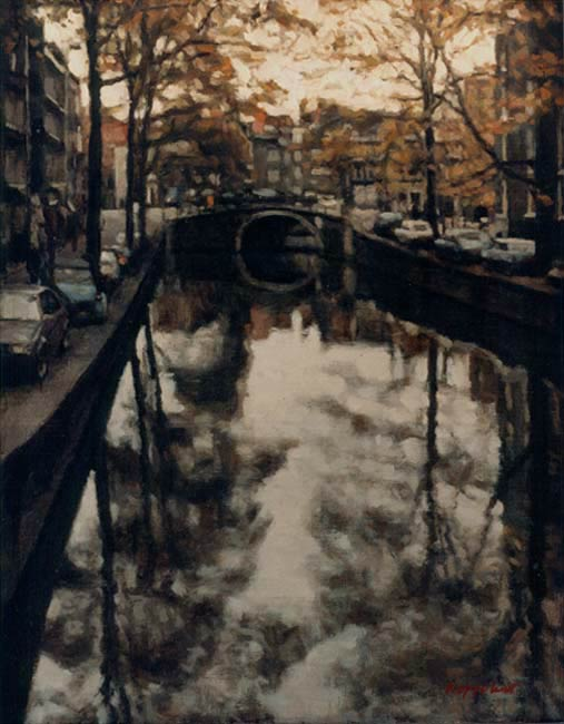 cityscape: 'Small Canal, Autumn' oil on canvas marouflée by Dutch painter Frans Koppelaar.
