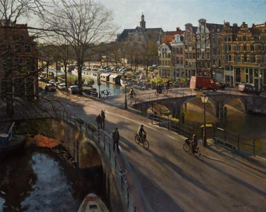 cityscape: 'Two Bridges' oil on canvas by Dutch painter Frans Koppelaar.