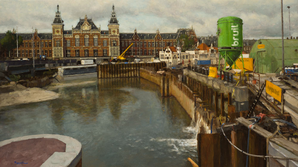 cityscape: 'Construction Pit near Amsterdam Central Station' oil on canvas by Dutch painter Frans Koppelaar.