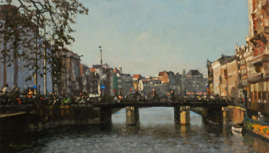 cityscape: 'Rokin with Doelen Bridge' oil on panel by Dutch painter Frans Koppelaar.