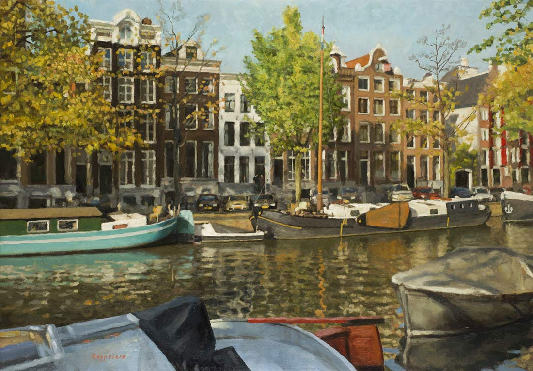 cityscape: 'The White House' oil on canvas by Dutch painter Frans Koppelaar.