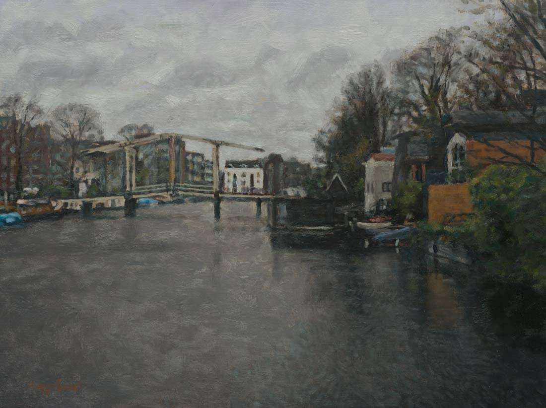 cityscape: 'Prinseneilandsgracht' oil on canvas by Dutch painter Frans Koppelaar.