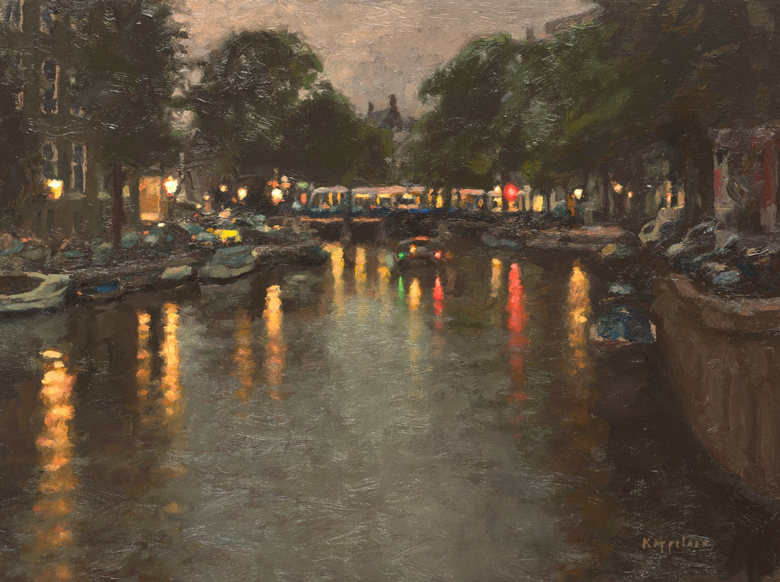 cityscape: 'Raadhuisstraat at dusk' acrylics and oil on linnen by Dutch painter Frans Koppelaar.
