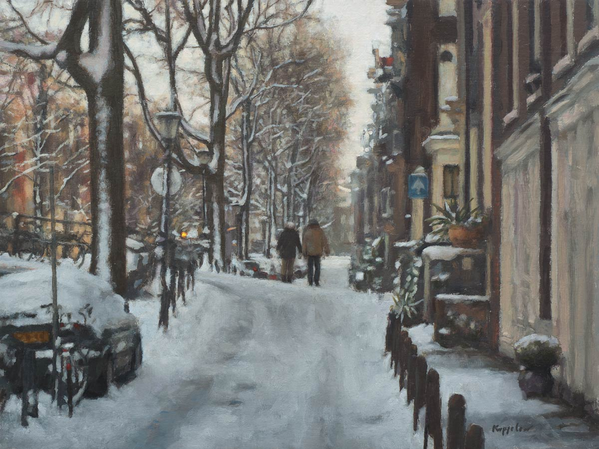 cityscape: 'Walk in Snow' acrylics and oils on linnen marouflé by Dutch painter Frans Koppelaar.
