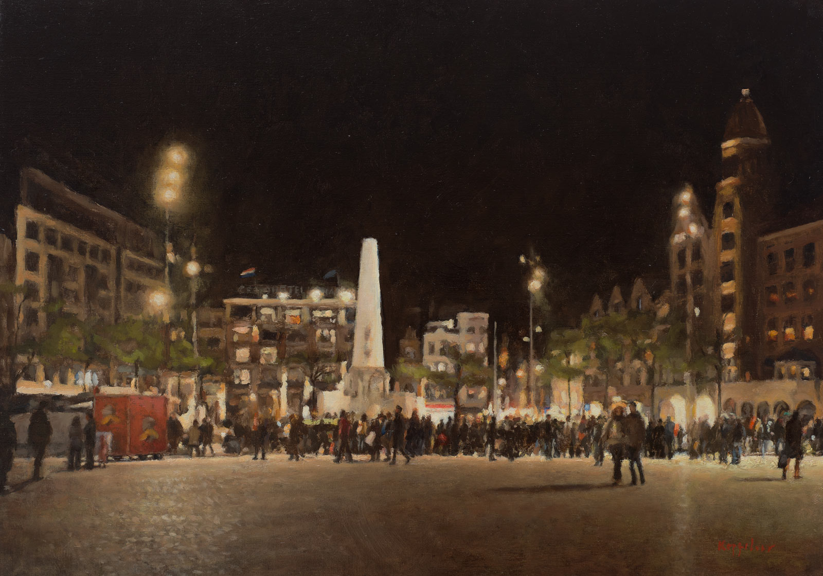 cityscape: 'Dam Square at Night' tempera and oil on linnen by Dutch painter Frans Koppelaar.
