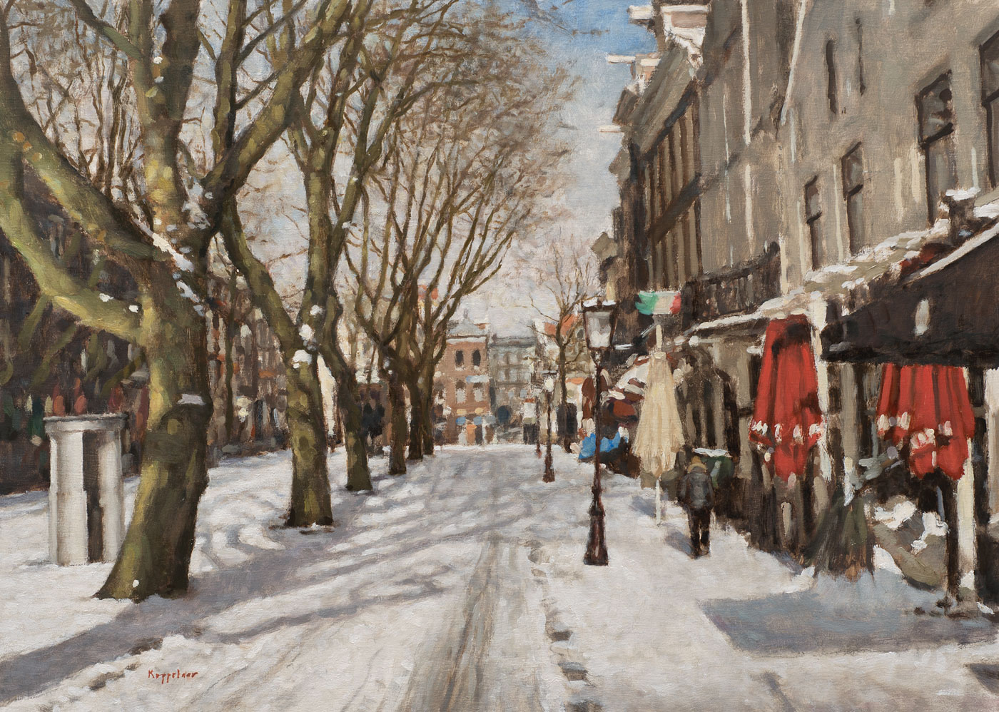 cityscape: 'Thorbeckeplein in Winter' oil on linnen by Dutch painter Frans Koppelaar.