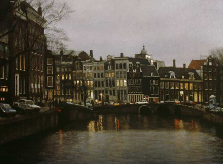cityscape: 'Winter afternoon at Herengracht' oil on canvas by Dutch painter Frans Koppelaar.
